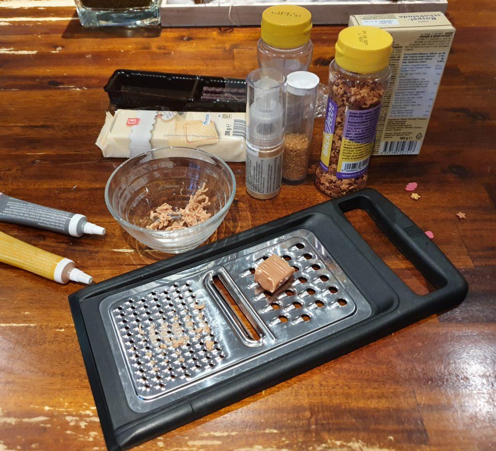 Zutaten für selbstgemachte Schokoladentafel